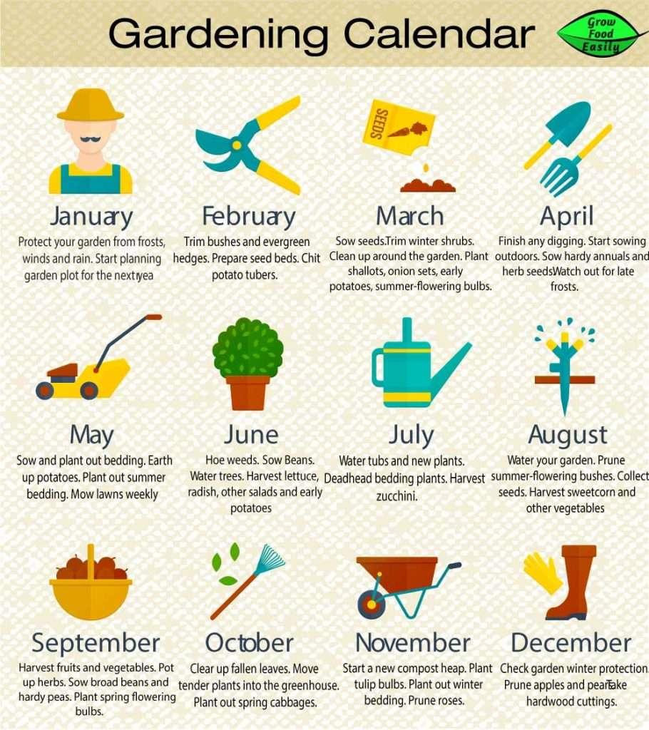 Gardening Calendar Months
